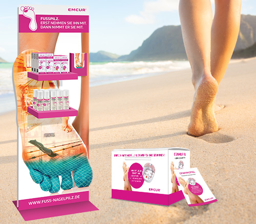 Emcur Display Fußpilzprodukte